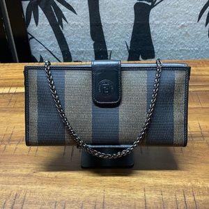 Vintage Fendi Pequin Stripe Wallet With Chain